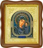 Казанская Б.М., средняя аналойная икона, фигурный киот (Д-17фс-10)
