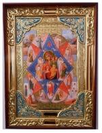 Неопалимая Купина Б.М., в прямом киоте, с багетом. Храмовая икона (58 Х 79)