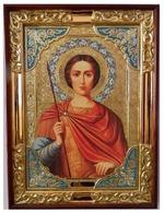 Дмитрий Солунский (кр.тун), в прямом киоте, с багетом. Храмовая икона (58 Х 79)