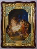 Рождество Христово, в фигурном киоте, с багетом. Храмовая икона (60 Х 80)