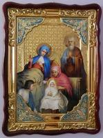Рождество Пресвятой Богородицы, в фигурном киоте, с багетом. Храмовая икона (60 Х 80)