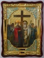 Воздвижение Честного Креста Господня, в фигурном киоте, с багетом. Храмовая икона (60 Х 80)