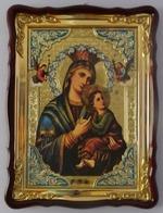 Неустанная помощь Б.М., в фигурном киоте, с багетом. Храмовая икона 60 Х 80 см.
