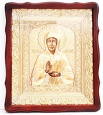 Матрона Московская. Храмовая икона в фигурном киоте, в ризе, с багетом, 38 Х 44