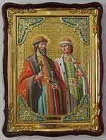 Борис и Глеб, в фигурном киоте, с багетом. Храмовая икона (60 Х 80)