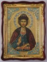 Игорь,Св.князь, в фигурном киоте, с багетом. Храмовая икона 60 Х 80 см.