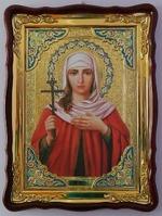 Лариса Св. муч., в фигурном киоте, с багетом. Храмовая икона 60 Х 80 см.