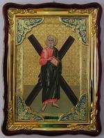 Андрей Первозванный, в фигурном киоте, с багетом. Храмовая икона (60 Х 80)