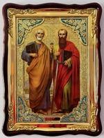Петр и Павел, Св. Ап., в фигурном киоте, с багетом. Храмовая икона (60 Х 80)