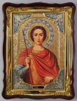 Дмитрий Солунский (кр.тун), в фигурном киоте, с багетом. Храмовая икона (60 Х 80)
