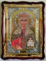 Тамара, Св. муч., в фигурном киоте, с багетом. Храмовая икона (60 Х 80)