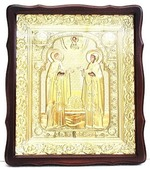 Петр и Феврония. Храмовая икона в фигурном киоте, в ризе, с багетом, 38 Х 44