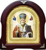 Николай Чудотворец с предстоящими, синяя митра. Аналойная арочная икона (А-27)