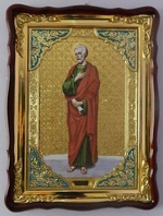 Апостол Фома, в фигурном киоте, с багетом. Храмовая икона (60 Х 80)