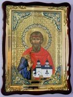 Владислав Сербский, в фигурном киоте, с багетом. Храмовая икона (60 Х 80)