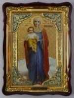 Валаамская Б.М., рост, синее. од., в фигурном киоте, с багетом. Храмовая икона (60 Х 80)