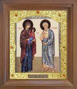 Иоаким и Анна. Икона в деревянной рамке с окладом (Д-26псо-125)