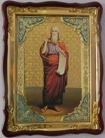 Илья Пророк,рост (кр. од, свиток), в фигурном киоте, с багетом. Храмовая икона (60 Х 80)