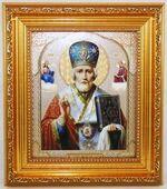 Николай Чудотворец, Икона в багетной рамке 14 Х 16, партия 20 шт.