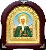 Матрона Московская. Аналойная арочная икона, голубой фон