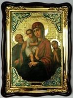Трех радостей Б.М., в фигурном киоте, с багетом. Храмовая икона (60 Х 80)