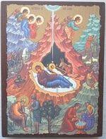 Рождество Христово, икона под старину JERUSALEM панорамная, с клиньями (13 Х 17)
