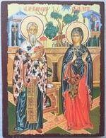 Киприан и Устинья, икона под старину JERUSALEM панорамная, с клиньями (13 Х 17)