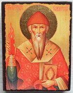 Спиридон Тримифунтский (паст. шапка, свеча), икона под старину JERUSALEM прямая (13 Х 17)