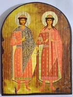 Борис и Глеб, икона под старину JERUSALEM, арка (13 Х 17)