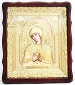 Семистрельная Б.М.. Храмовая икона в фигурном киоте, в ризе, с багетом, 38 Х 44