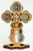 Крест настольный деревянный (07) фигурный на подставке