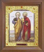 Петр и Павел. Икона в деревянной рамке с окладом (Д-26псо-141)