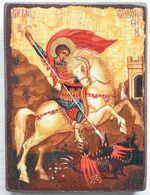 Георгий, убивающий змея (золотой фон), икона под старину JERUSALEM прямая (13 Х 17)