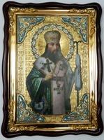 Феодосий Черниговский, в фигурном киоте, сбагетом. Храмовая икона (60 Х 80)