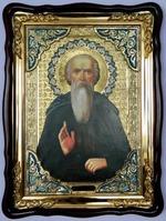 Никола Святоша Преп., в фигурном киоте, с багетом. Храмовая икона (60 Х 80)
