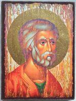 Апостол Петр (оплечный, красное одеяние), икона под старину JERUSALEM панорамная, с клиньями (13 Х 17)