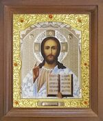 Спаситель. Икона в деревянной рамке с окладом (Д-26псо-15)