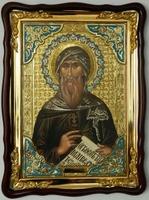 Иоанн Дамаскин, Св. муч, в фигурном киоте, с багетом. Храмовая икона (60 Х 80)