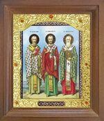 Святители Василий Великий, Иоанн Златоуст, Григорий Двоеслов. Икона в деревянной рамке с окладом (Д-26псо-158)