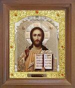 Спаситель. Икона в деревянной рамке с окладом (Д-25псо-16)