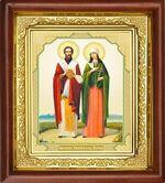 Киприан и Устинья, икона в деревянной рамке (Д-16пс-35)