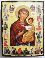 Богородица Одигитрия с житием, икона под старину JERUSALEM прямая (13 Х 17)