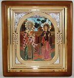 Киприан и Устинья, икона аналойная, риза, упаковка, (23 Х 26)