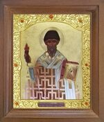Спиридон Тримифунтский (факел). Икона в деревянной рамке с окладом (Д-26псо-171)