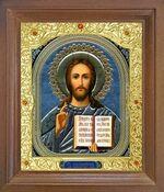 Спаситель. Икона в деревянной рамке с окладом (Д-26псо-18)