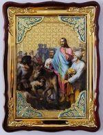 Вход в Иерусалим, в фигурном киоте, с багетом. Храмовая икона (60 Х 80)
