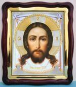 Спас Нерукотворный. в фигурном киоте, с багетом. Большая аналойная икона (28 Х 32)