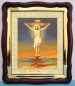 Распятие, в фигурном киоте, с багетом. Храмовая икона (43 Х 50)