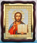 Спаситель (1), в фигурном киоте, с багетом. Большая аналойная икона (28 Х 32)
