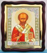 Николай Чудотворец (10), в фигурном киоте, с багетом. Большая аналойная икона (28 Х 32)